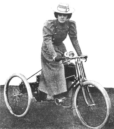 Mlle Serpolette and her motor tricycle